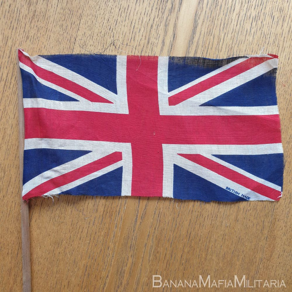 VE day flags  28x15cm (on hand held pole) printed and marked British made.