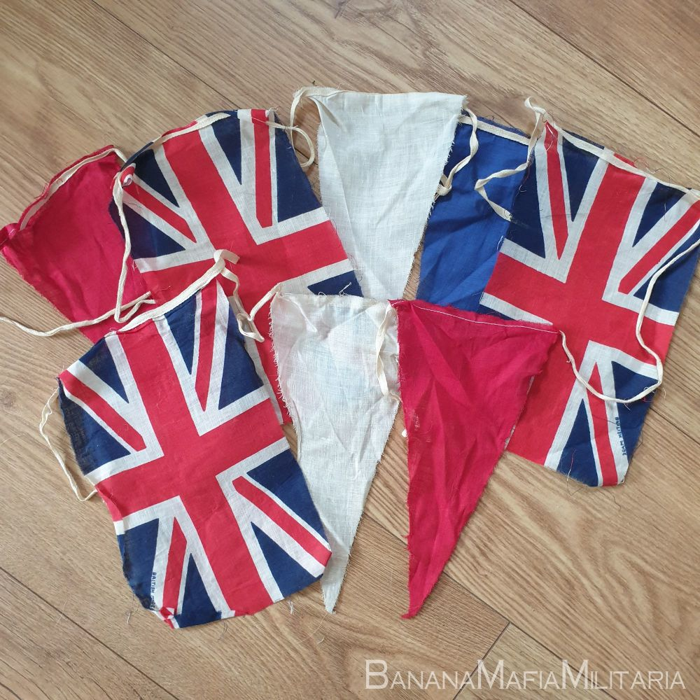 Original WW2 VE day flag  Bunting - union flags and pennants