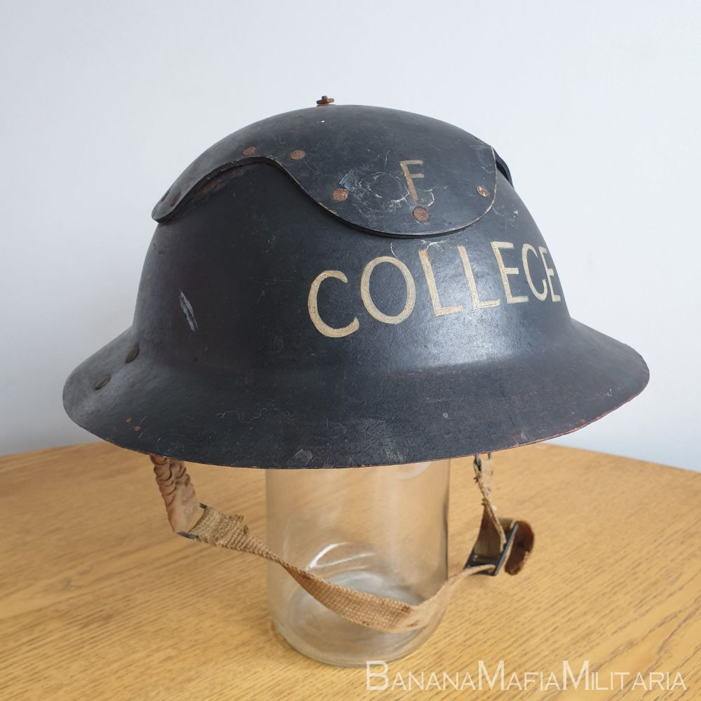 """Original WW2 British home front - """"Cromwell"""" type Helmet with """"F COLLEGE"""""""