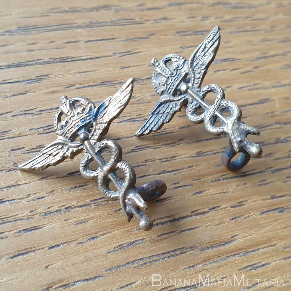 Royal Air Force Medical Branch WW2 O/R RAF collar badges - Pair KC