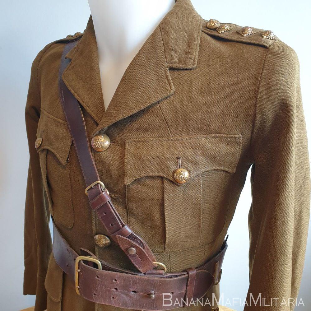 British Army Officers uniform tunic and Sam Browne belt - WW2 Captain Churc