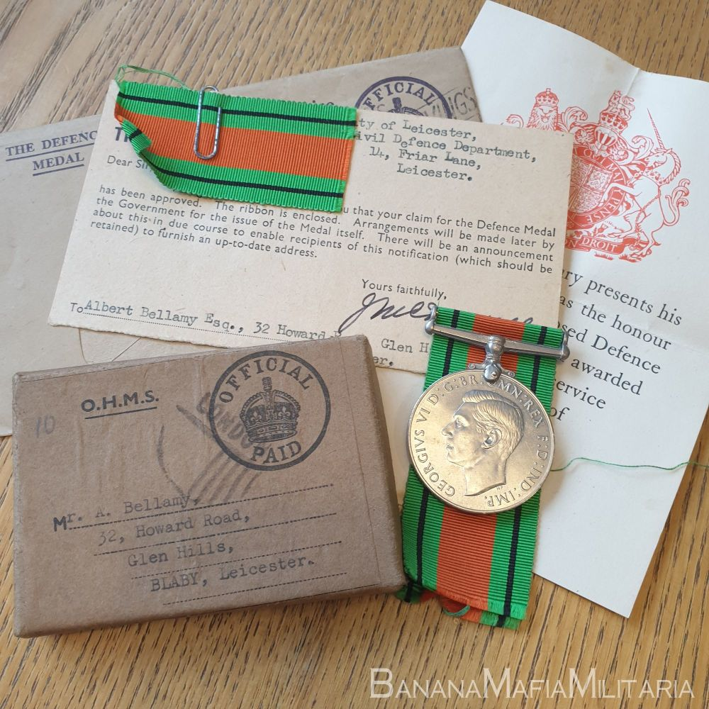 WW2 Leicestershire ARP/Civil defence Medal with box and ribbon letter
