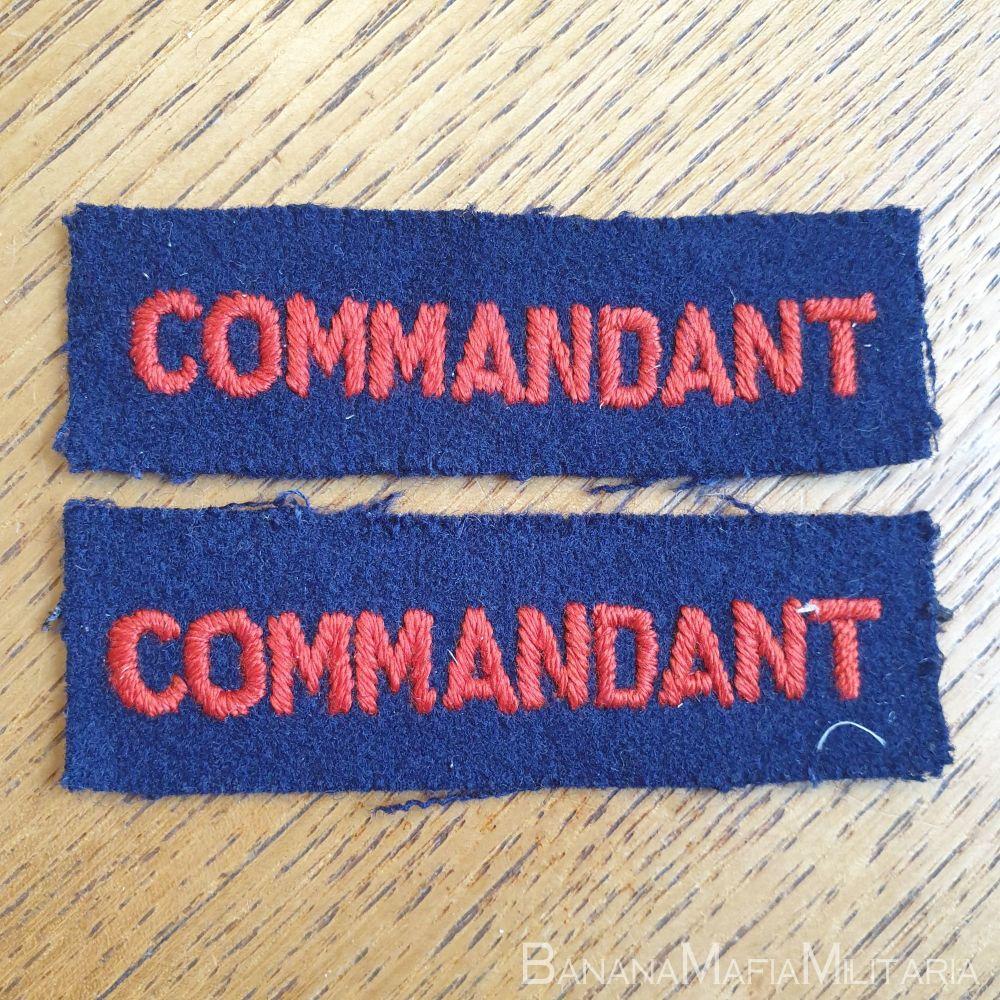 "1958  British Red Cross cloth titles ""commandant"" - pair"