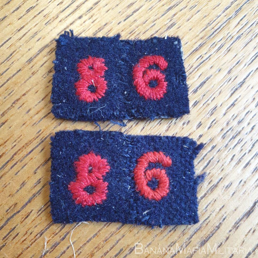 "1958 British Red Cross cloth regional Area numbers badge ""86"""