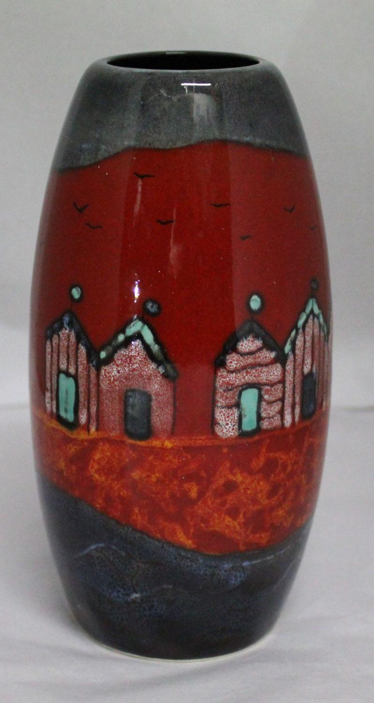 Studio Poole Red Beach-huts Torpedo vase