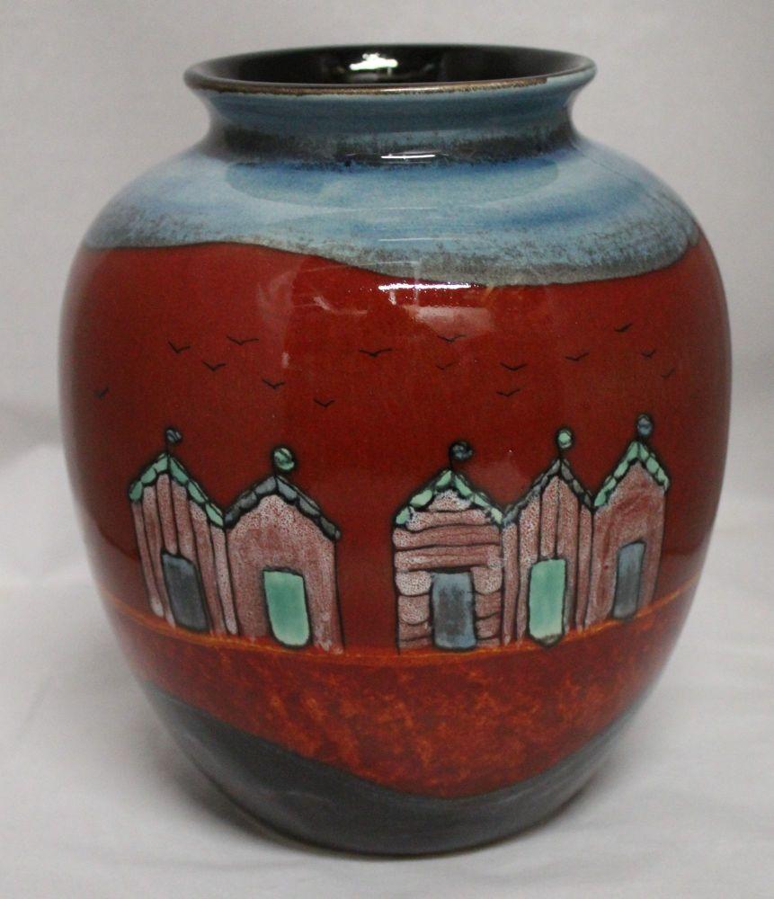 Red Beach-Huts Bulbous vase