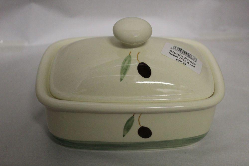 Butter Dish - Green Fresco design