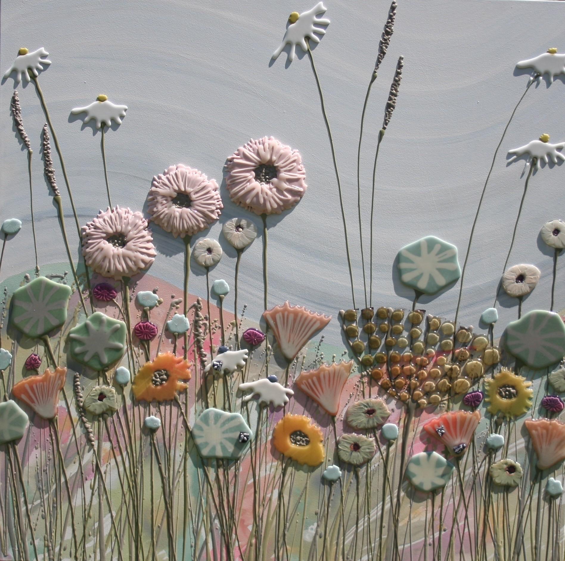 Pale Pink & Green Meadow - 100cm x 100cm
