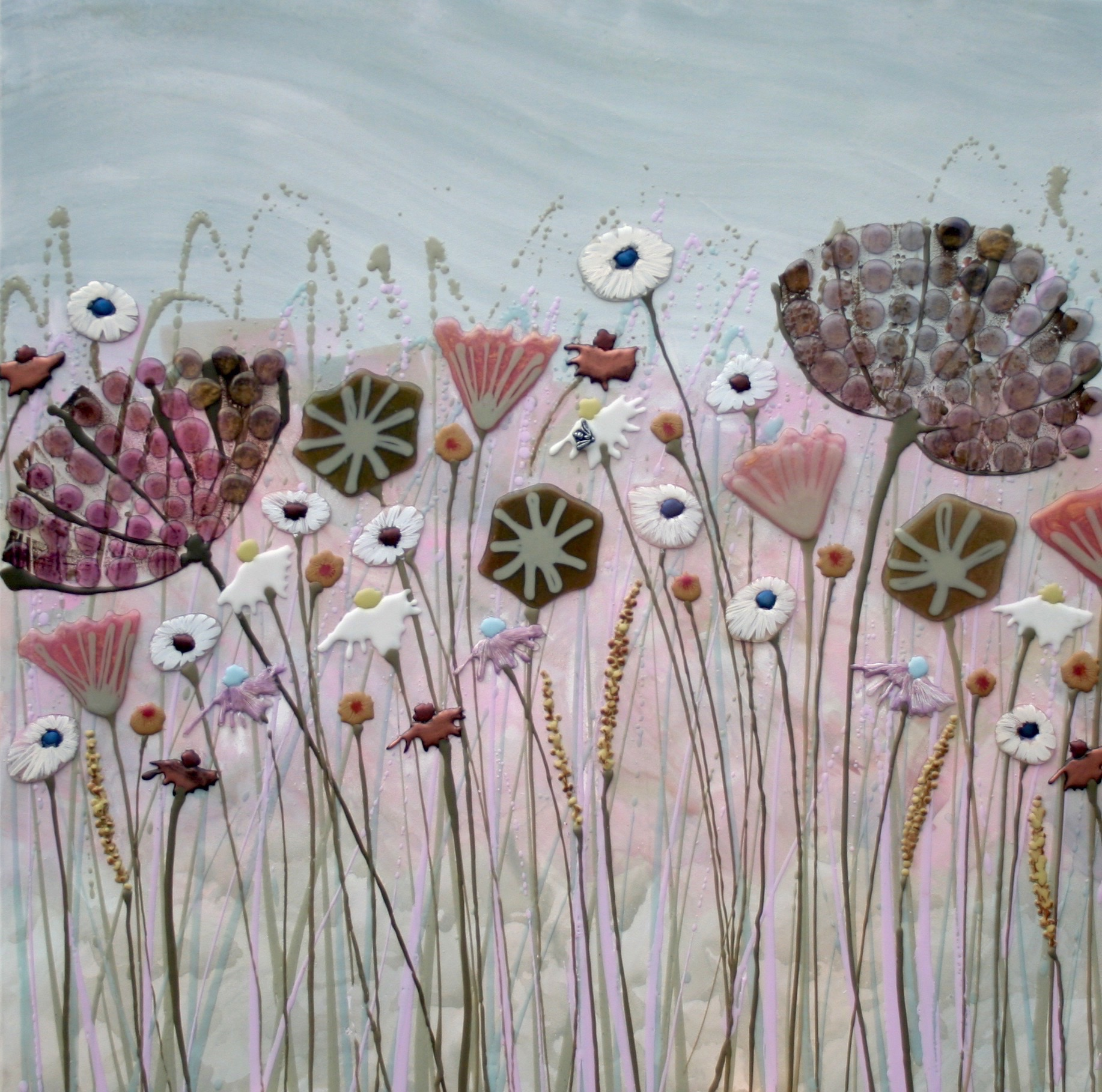 Pink & Green Meadow with Blue Sky - 80cm x 80cm