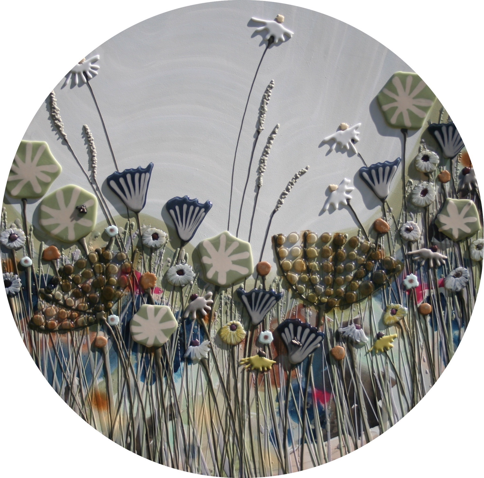 Circular Blue & Pale Green Meadow with Blue Sky - 100cm Diameter - Beeswax & Glass on Board