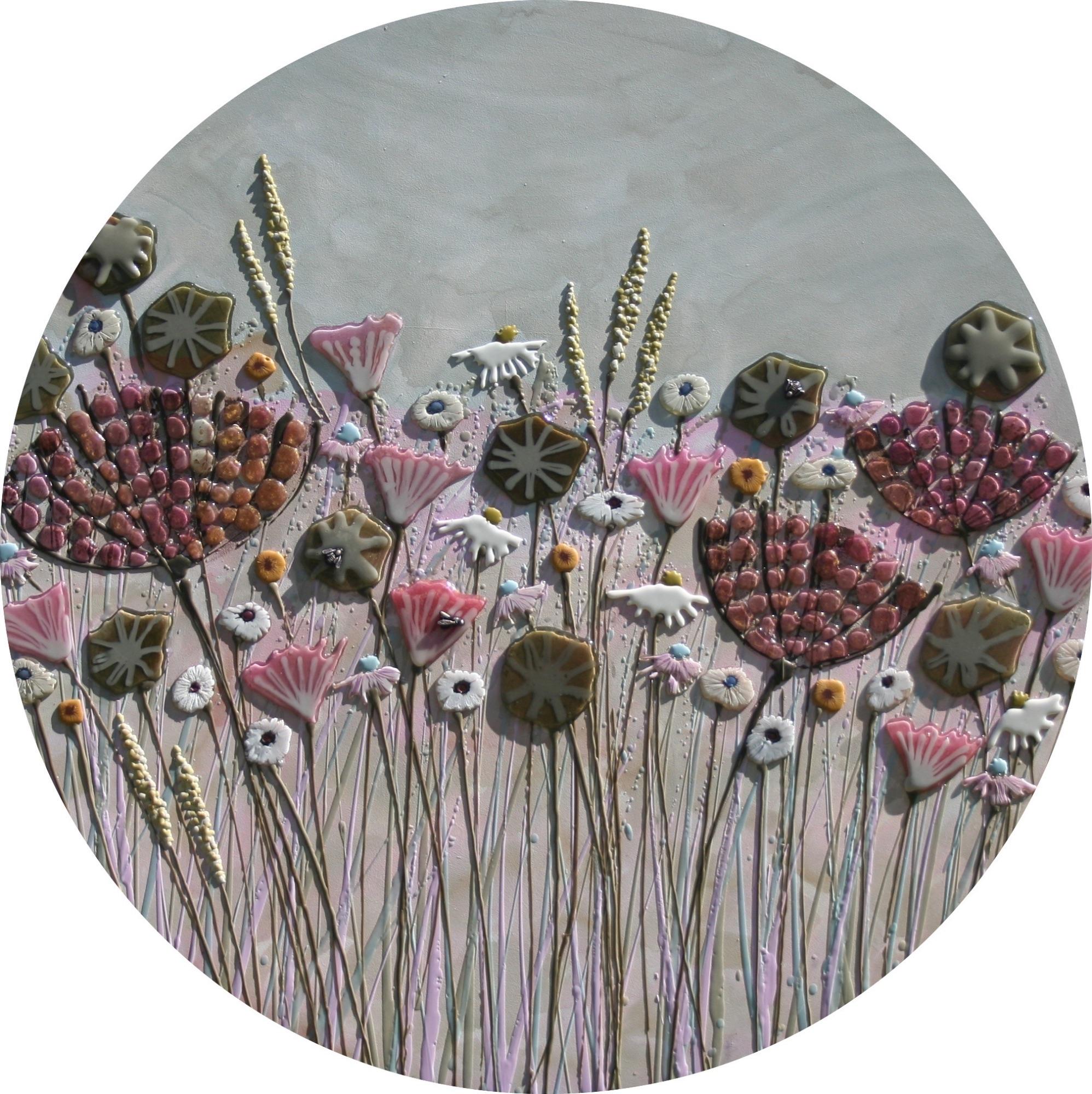 Circular Pink & Green Meadow with Washy Sky - 100cm Diameter - Beeswax & Glass on Board