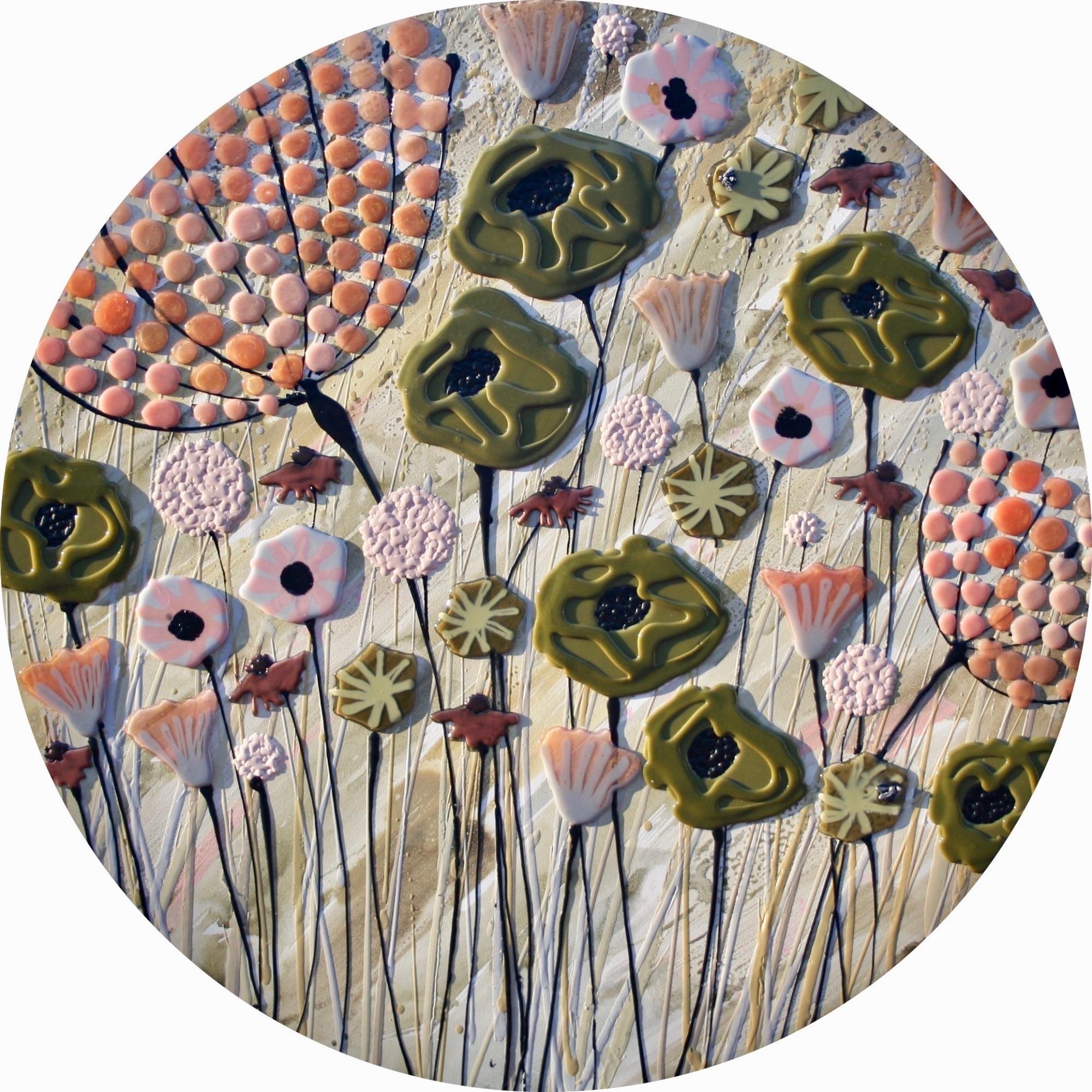 Circular Green & Peach Meadow - 100cm Diameter