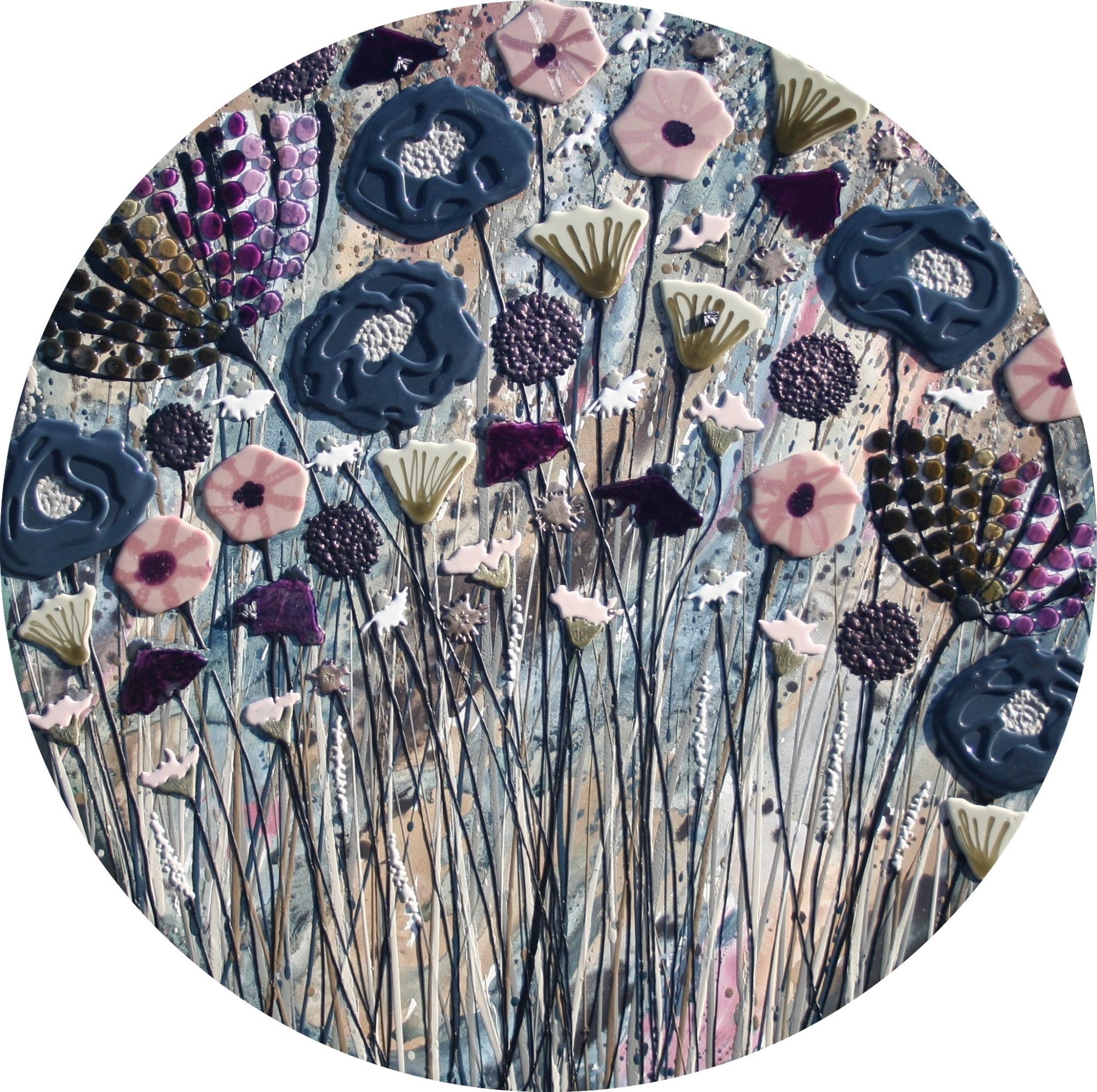 Circular Dark Blue Meadow - 100cm Diameter - Beeswax & Glass on Board