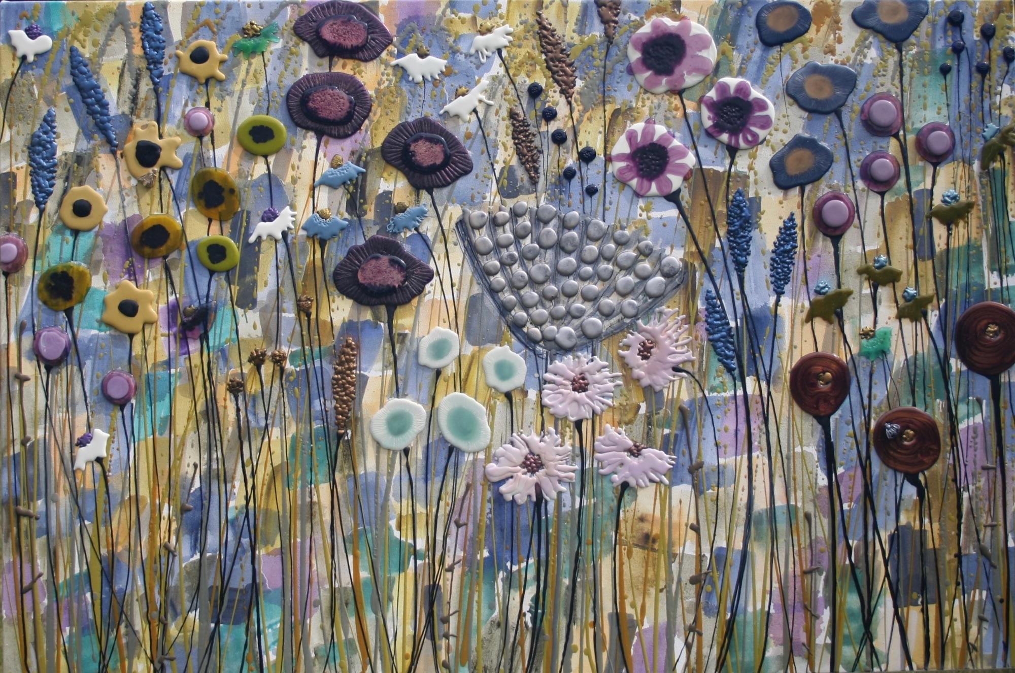 Blue & Purple Meadow - 120cm x 57cm - Beeswax & Glass on Board