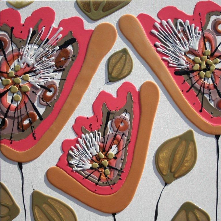 Coral & Peachy Poppies - 90cm x 90cm - Beeswax & Glass on Board