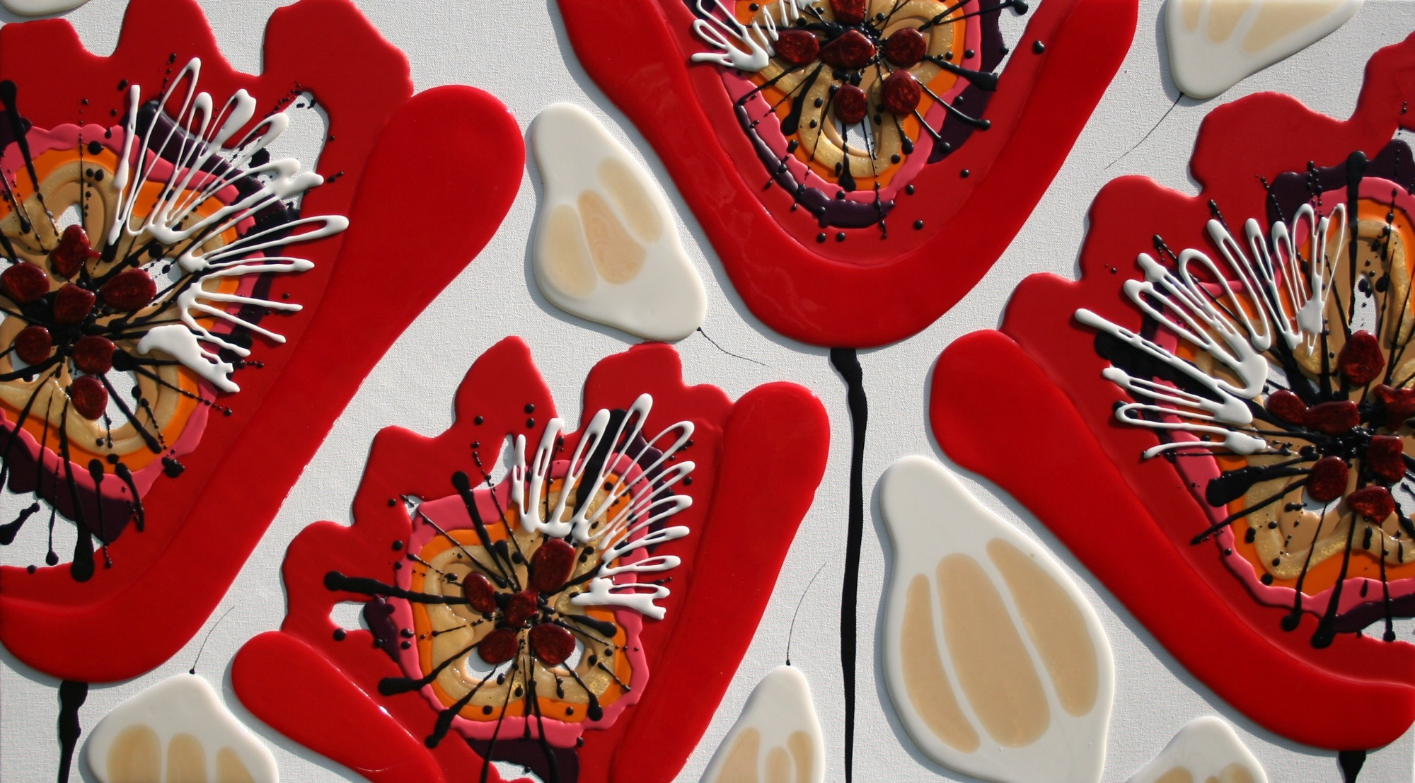 Four Red Poppies 100cm x 57cm - Beeswax & Glass on Board