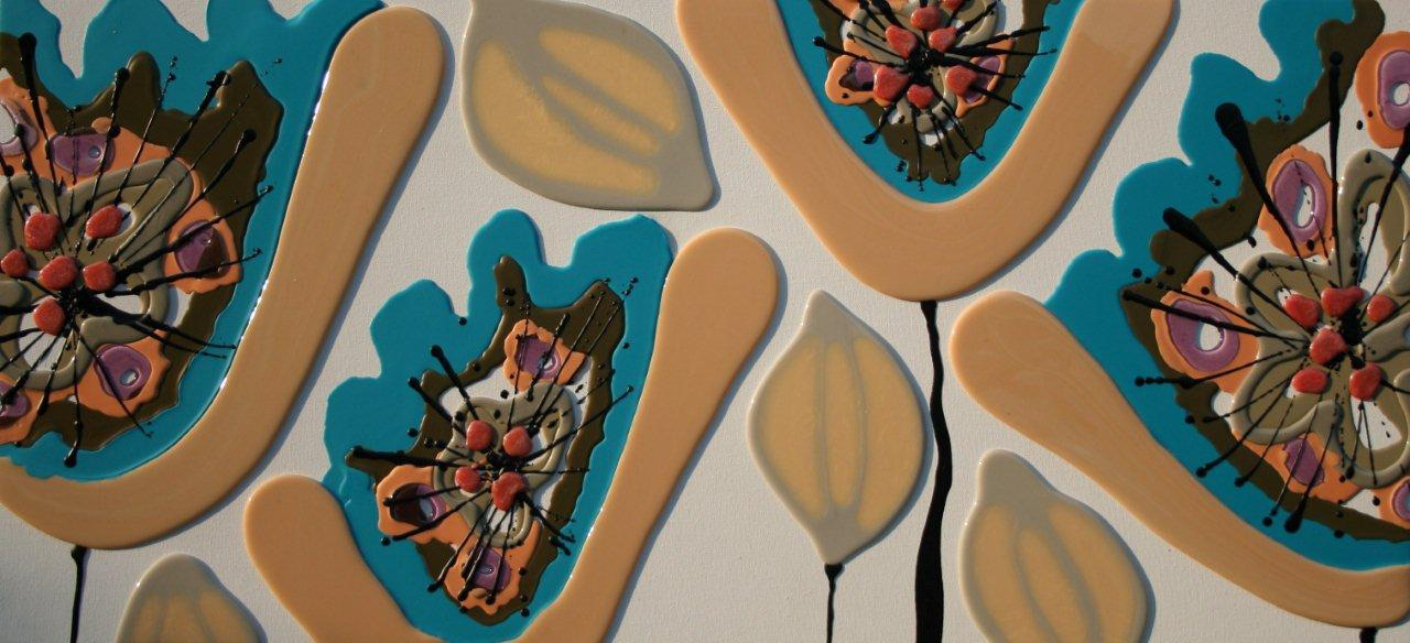 Four Turquoise Poppies - 120cm x 57cm - Beeswax & Glass on Board