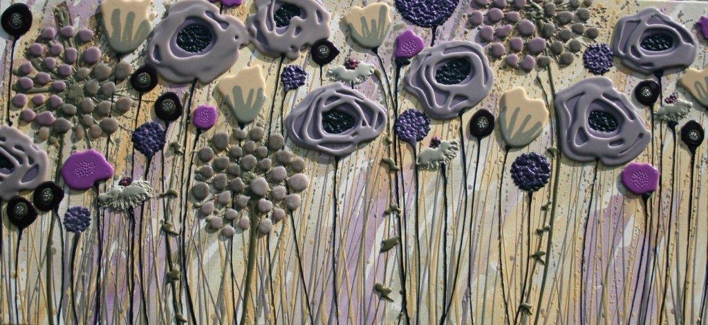 Muted Meadow - 120cm x 57cm - Beeswax & Glass on Board