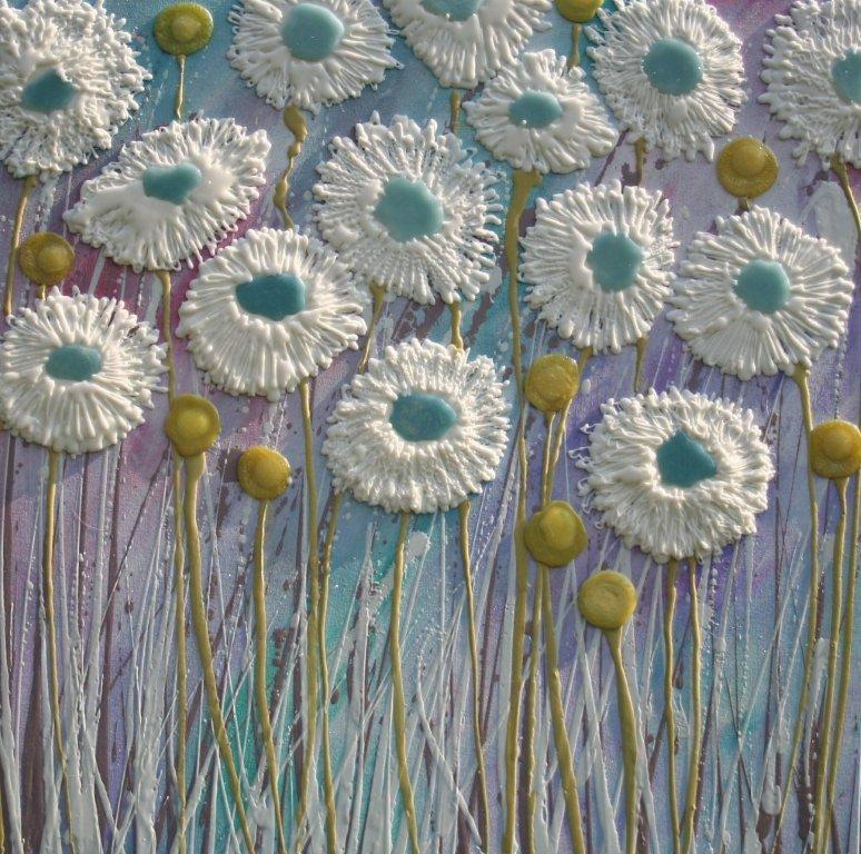 Turquoise Daisies - 80cm x 80cm - Beeswax & Glass on Board