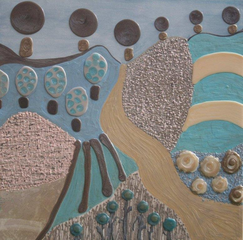 Turquoise Landscape 110cm x 110cm -Beeswax & Glass on Board