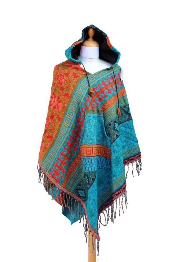 Poncho with Fully Lined Drawstring Hood