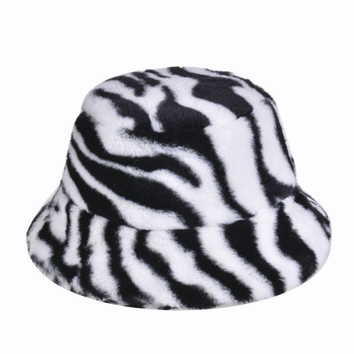 Fluffy Bucket Hat in Plush White Tiger Print