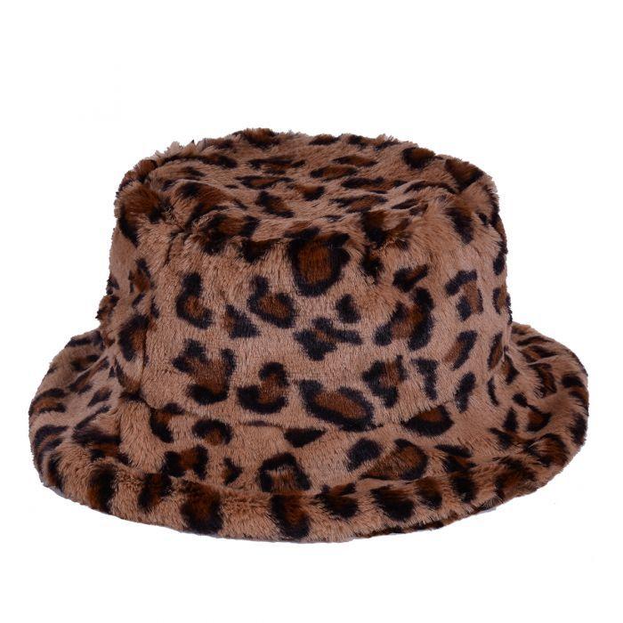 Leopard Print Fluffy Festival Bucket Hat