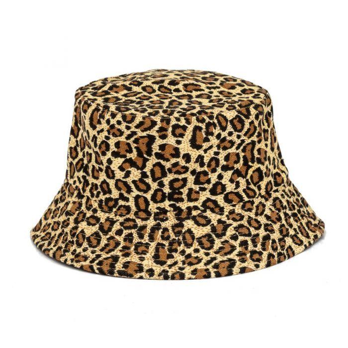 Leopard Print Canvas Festival Bucket Hat