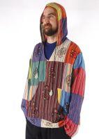Gringo Fair Trade Striped Cotton And Block Print Patchwork Kangaroo Pocket Hoodtop - 100% Cotton