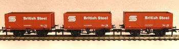 Oxford Rail GV6013  3 pack BSC 7 plank open mineral wagon
