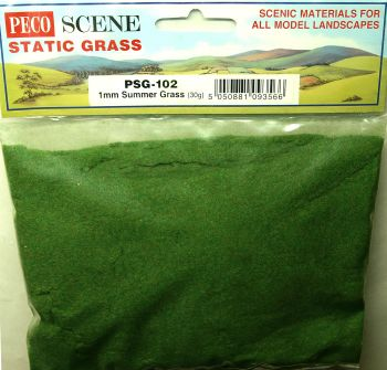 Peco Scene PSG102  Static Grass 1mm Summer Green 30gm