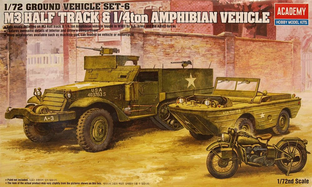 Academy 13408  M3 US Half-track & 1/4ton Amphibian vehicle