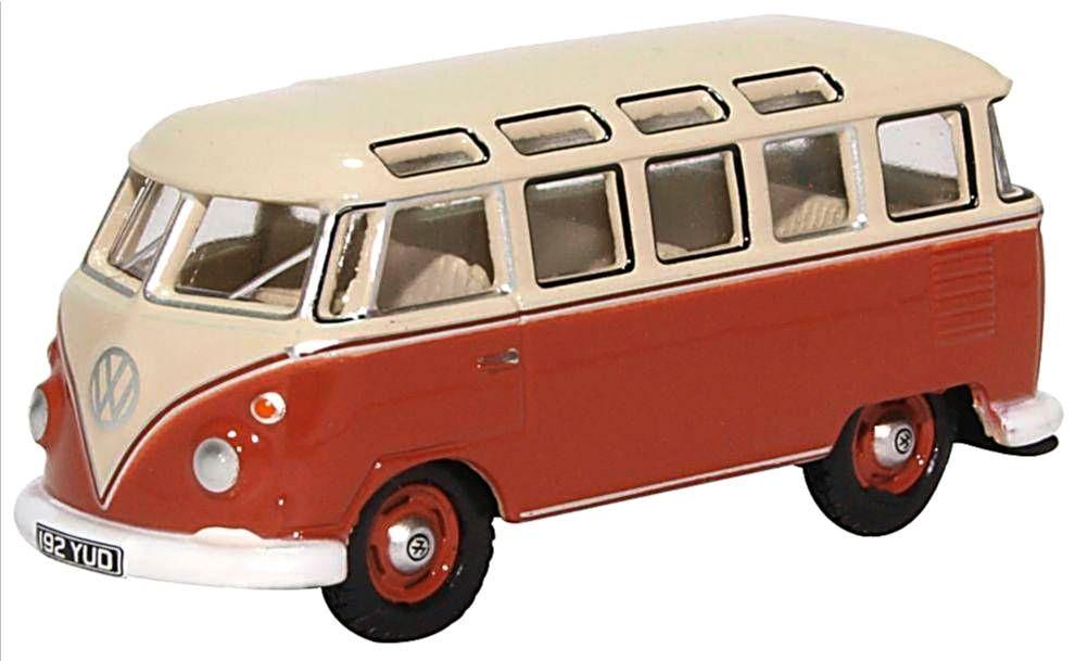 Oxford Diecast 76VWS001  VW T1 Samba Bus Sealing Wax Red Beige Grey