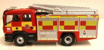 Oxford Diecast 76MFE005  MAN Pump Ladder Hertfordshire Fire & Rescue