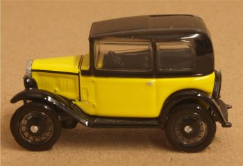 Oxford Diecast 76ASS007  Austin Seven Saloon Yellow and Black
