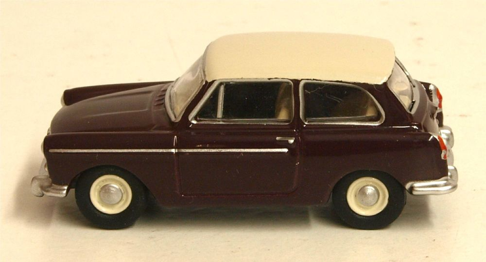 Oxford Diecast 76AA007  Austin A40 MKII Maroon Black & Snowberry White