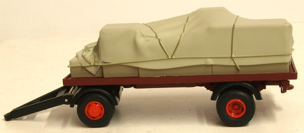 Oxford Diecast 76CTR002  Canvassed Trailer Maroon and Red
