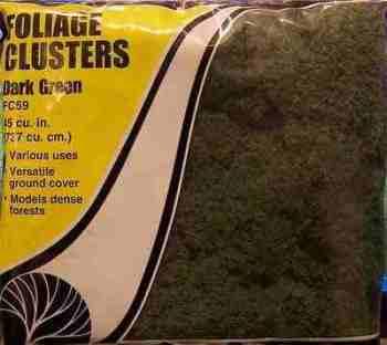 Woodland Scenics FC59  Foliage clusters  (Dark green)