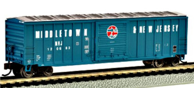 Bachmann 19653  50' Outside braced sliding door box car 'Middletown & New Jersey' (Silver Series)(1:148)