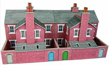 Metcalfe PO276 00/H0 Low Relief Red Brick Terraced House Backs