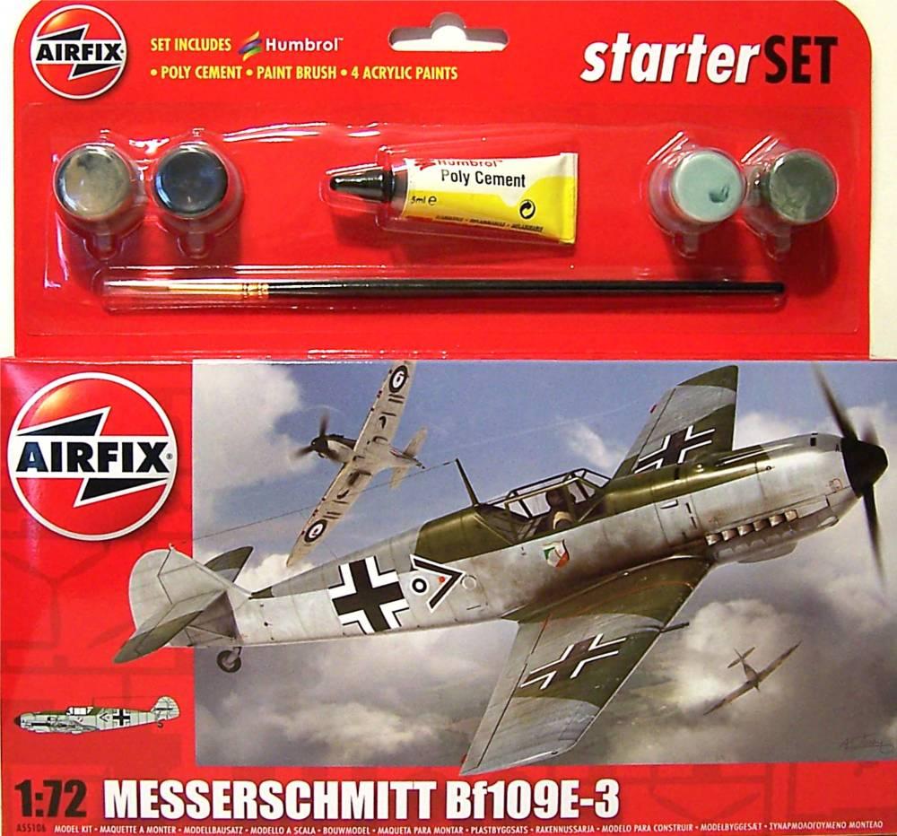 Airfix A55106 Messerschmitt Bf109E 1:72 Scale Model Small Starter Set by Airfix