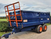 0154: Ken Wooton 10 Ton Tandem Axle Double Dropside Tipping Trailer c/w Bale Extension