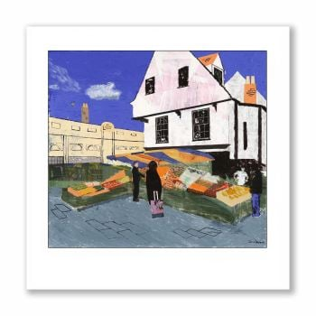 Market Stalls, St. Albans - Greetings Card