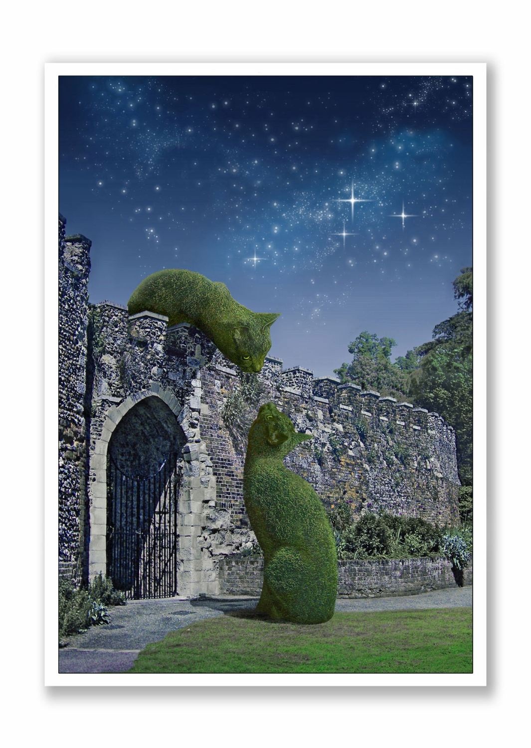 Topiary Cats on Wall Moonlit