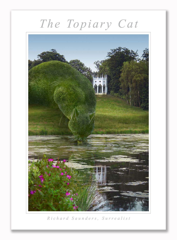Topiary Cat Drinking - Art Print - 29.5x42cm