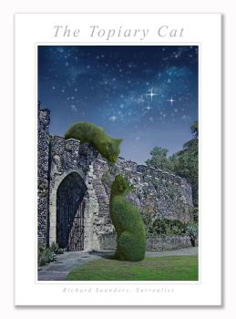 Topiary Cats On Wall Moonlit - Art Print - 29.5x42cm