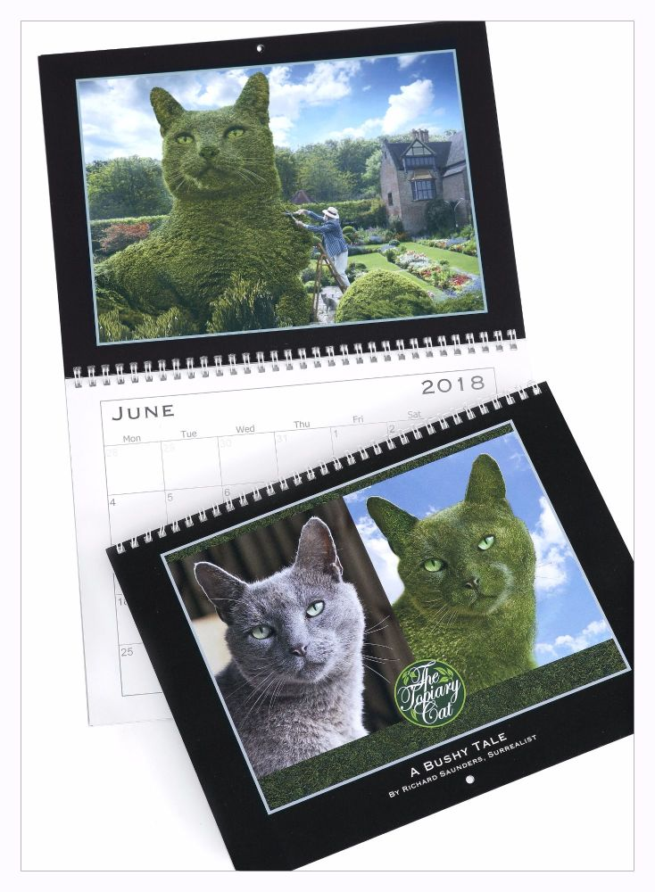 *NEW* Topiary Cat - 2018 Calendar- A Bushy Tale by Richard Saunders, Surrea