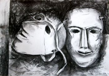 9. Bobby Britnell ~ Two Masks in Charcoal web
