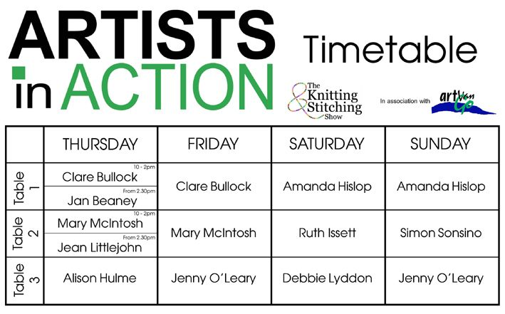 Artists in Action Timetable