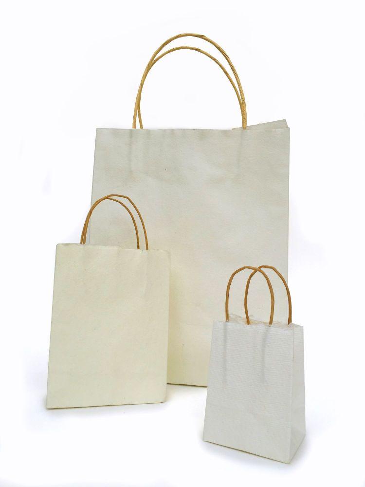 Khadi Handmade Paper Bags - NATURAL WHITE